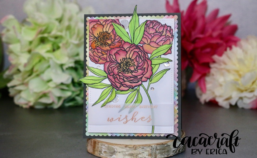 Copic coloured birthday card with Modern Peonies fromWPlus9