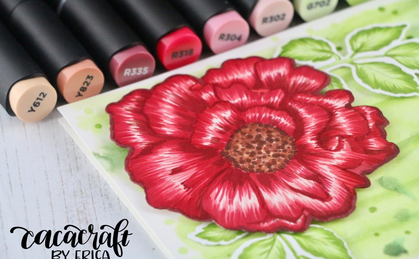 Altenew Build-A-Flower Camellia and Artist Markers 'hi'card