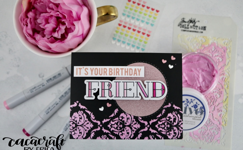 Pink Monochromatic card with lots of glimmer and shimmer for a glamorous birthdaygirl!