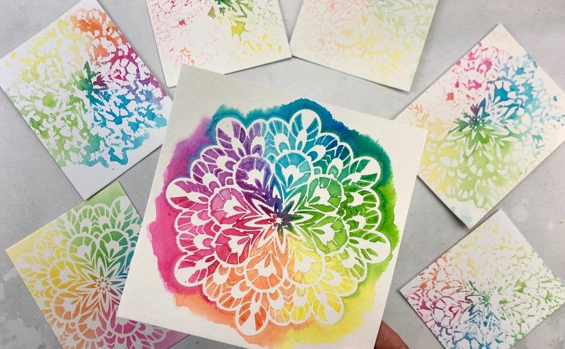 Fancy Kaleidoscope Stencil Cards, MultipleWays!