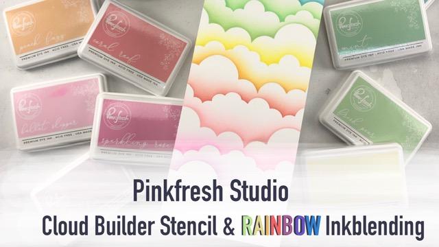 Rainbow Cloud Ink Blending | Pinkfresh Studio Cloud BuilderStencil