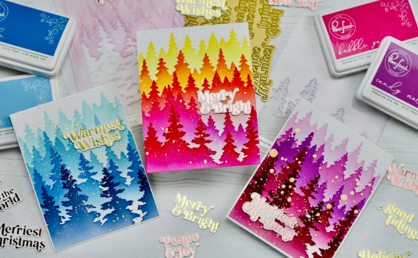 Magical Wintry Forest stencilling cards | Pops of colour, withoutcolouring!