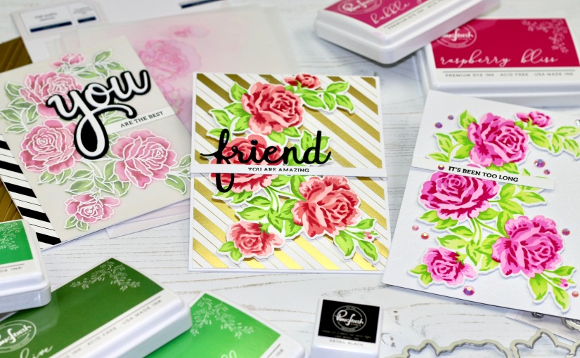 Garden Roses cards, threeways!
