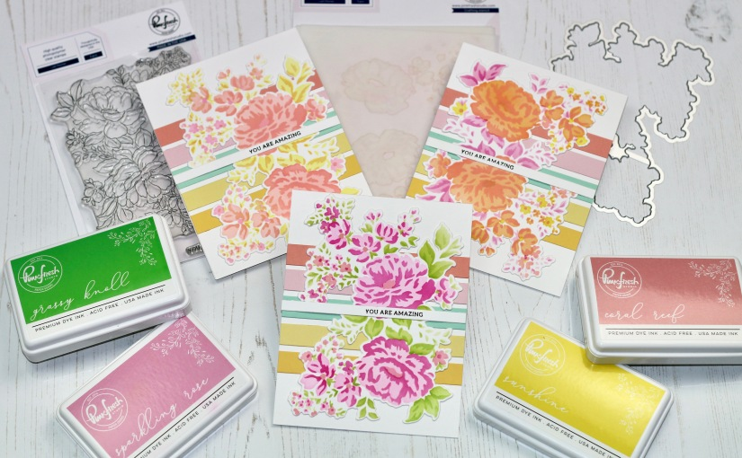 Pinkfresh Lush Peonies cards and New Inks from CatherinePooler!